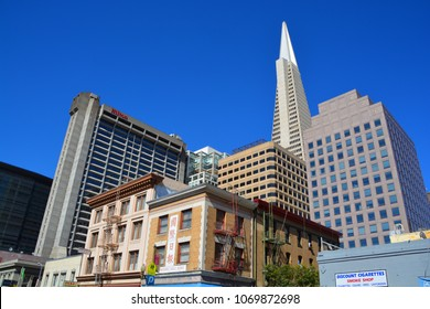 SAN FRANCISCO CA USA  APRIL 15 2015: Transamerica Pyramid skyscraper in San Francisco, USA. It is the tallest building in San Francisco with height of 853 ft (260 m).