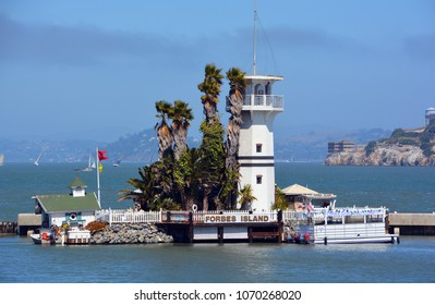 SAN FRANCISCO CA USA APRIL 16 2015: Lighthouse of Forbes Island, now closed, was a restaurant in Fisherman's Wharf, San Francisco, The restaurant was inspired by Captain Nemo's marine dwelling