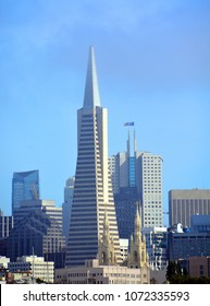 SAN FRANCISCO CA USA  APRIL 15 2015: Downtown San francisco and the Transamerica Pyramid skyscraper in San Francisco, USA. It is the tallest building in San Francisco with height of 853 ft (260 m).
