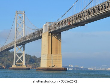SAN FRANCISCO CA USA APRIL 17: The San Francisco Oakland Bay Bridge (known  as the Bay Bridge) is a complex of bridges spanning San Francisco Bay in California. It has one of the longest spans in US