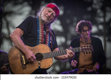 San Francisco, CA USA - August 11, 2013: Willie Nelson and son Micah performing at the 2013 Outside Lands music festival Sutro Stage.