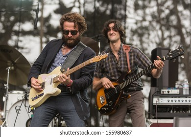 San Francisco, CA USA - August 11, 2013: Taylor Goldsmoth and Wylie Gelber of Dawes performing at the 2013 Outside Lands music festival in Golden Gate Park.