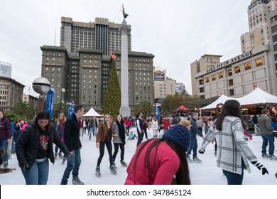 San Francisco, CA, USA --  Dec 5, 2015. Holiday shoppers enjoy the ice skating rink in Union Square.