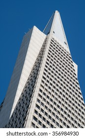 San Francisco, CA, USA --?? Dec 15, 2015.  Top of the Transamerica Pyramid Building brightly sunlit and set against a stark blue sky.