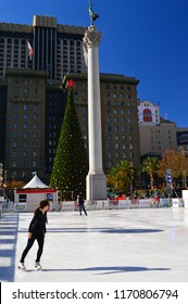 San Francisco, CA USA December 5, 2013 A young woman ice skates during the Christmas season in Union Square in San Francisco
