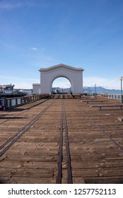 San Francisco, CA, USA - December 02, 2018: the old Pier 43 Rail Ferry Terminal in Fisherman's Wharf area of San Francisco, California