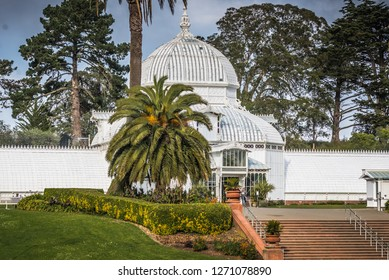 SAN FRANCISCO CA USA DECEMBER 19 2017: Conservatory of Flowers building at the Golden Gate Park in San Francisco. It is one of the largest conservatories built of traditional wood and glass - Image