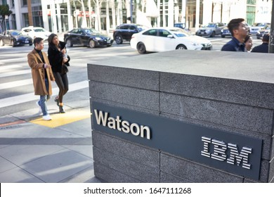 San Francisco, CA, USA - Feb 8, 2020: The IBM Watson sign outside its San Francisco office. Watson is a question-answering computer system capable of answering questions posed in natural language.