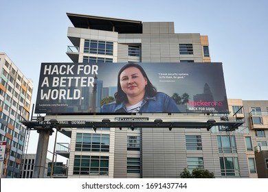 San Francisco, CA, USA - Feb 23, 2020: San-Francisco-based cybersecurity company HackerOne's billboard is seen in the city. HackerOne is a vulnerability coordination and bug bounty platform.