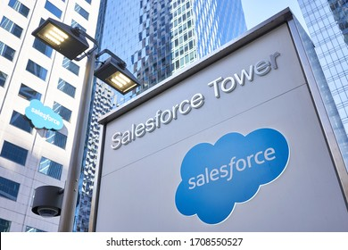 San Francisco, CA, USA - Feb 9, 2020: The entrance sign of Salesforce Tower, at the American cloud-based software company Salesforce.com, Inc.'s Headquarters campus in San Francisco, California.