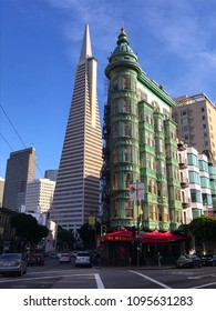 San Francisco, CA, USA / January 28, 2018: Transamerica building designed by William Pereira and the Flat Iron Building in San Francisco.