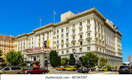 San Francisco, CA, USA - Jul.14, 2013: The Fairmont San Francisco Hotel. This hotel is a luxury hotel on 950 Mason Street, atop Nob Hill in San Francisco, CA.