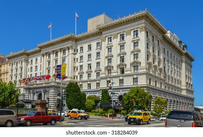 San Francisco, CA, USA - Jul-14-2013: The Fairmont San Francisco Hotel. This hotel is a luxury hotel on 950 Mason Street, atop Nob Hill in San Francisco, CA.