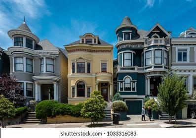 San Francisco, CA / USA - July 17, 2015: The Painted Ladies in Scott Street, facing Alamo Park.