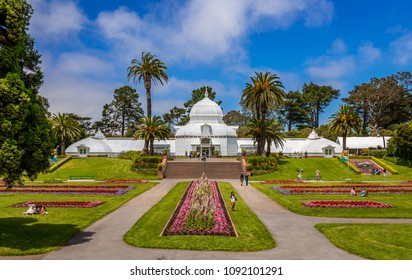 San Francisco, CA / USA - July 16, 2015: View of the Conservatory of Flowers, a greenhouse and botanical garden that houses a collection of rare and exotic plants, in Golden Gate Park.