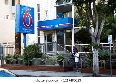 San Francisco, CA, USA - July 26, 2018: Motel 6 is an American privately-owned hospitality company with a chain of budget motels in the United States and Canada.