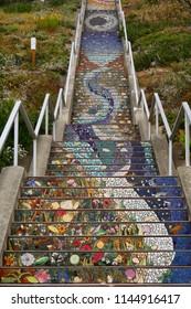 San Francisco, CA, USA - July-02-2018 : Beautiful 163 tiled Steps located at 16th Ave and Moraga in San Francisco