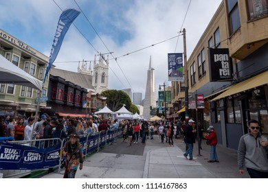 San Francisco, CA / USA - June 16 2018: one of the country's original outdoor festivals, the North Beach Festival celebrates its 64th anniversary in historic North Beach