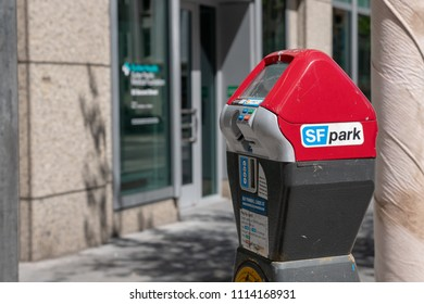 San Francisco, CA / USA - June 14 2018: a credit card parking meter in San Francisco downtown