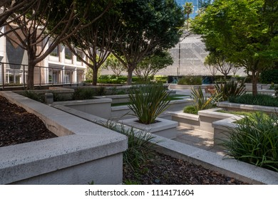 San Francisco, CA / USA - June 12 2018: city roof garden in downtown on Mission St, San Francisco, California