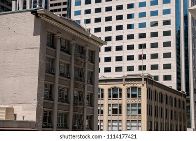 San Francisco, CA / USA - June 12 2018: old and new buildings in Soma, San Francisco, California