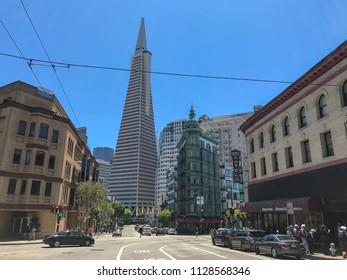 San Francisco, Ca, USA / June 10, 2017: Transamerica building designed by William Pereira and the Flat Iron Building in San Francisco.
