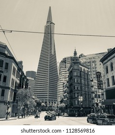 San Francisco, Ca, USA / June 10, 2017: Transamerica building designed by William Pereira and the Flat Iron Building in San Francisco. Black and white retro.