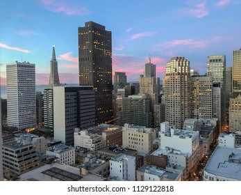 San Francisco, CA, USA / June 10, 2017: View of San Francisco skyline on a sunny evening with blue pink sky.