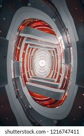 San Francisco, CA / USA - June 14 2018: Nordstrom shopping mall interior look up view