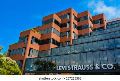 San Francisco, CA, USA - June 14, 2014: Levi Strauss & Co. Headquarters. Founded in 1853, Levi Strauss & Co. is an American clothing company known worldwide for its Levi's brand of denim jeans.
