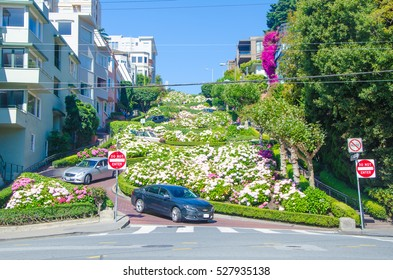 San Francisco, CA, USA - June 24, 2015: Lombard Street is an east-west street in San Francisco, California. The street is known as the most crooked street in the world