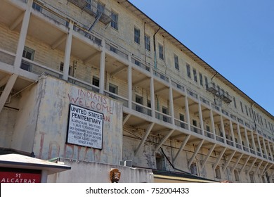 San Francisco, CA, USA - June 20, 2014: the entrance sign of Alcatraz Island, California, USA