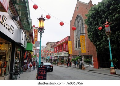 San Francisco, CA, USA - June 16, 2014: Chinatown in San Francisco is one of the oldest and largest chinatown outside of Asia.