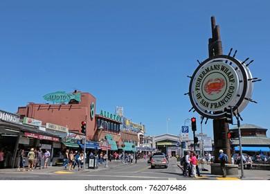 San Francisco, CA, USA - June 17, 2014: Fishermans Wharf sign in San Francisco, USA