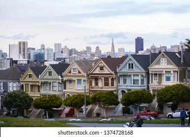 SAN FRANCISCO, CA, USA - MARCH 15, 2019: Stock photo Painted Ladies Downtown San Francisco CA