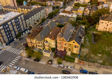 SAN FRANCISCO, CA, USA - MARCH 15, 2019: Aerial photo of the Painted Ladies Victorian Edwardian style historic architecture