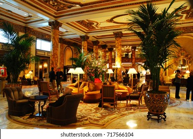 San Francisco, CA, USA March 11 Visitors gather in the lobby of the Fairmont Hotel in San Francisco.  The hotel is one of the oldest and more opulent in the city.