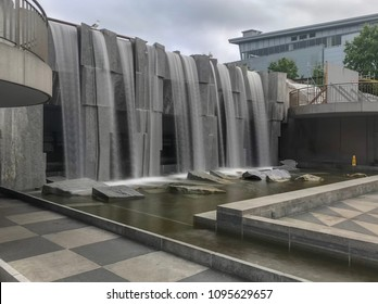 """San Francisco, Ca, USA / May 14, 2018: Martin Luther King, Jr. Memorial and Waterfall, titled """"Revelation"""" in Yerba Buena. Collaboration of Houston Conwill, Estella Conwill Majoza and Joseph DePace."""