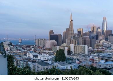 SAN FRANCISCO, CA / USA - MAY 2018: Panoramic view of Downtown San Francisco and Oakland Bay Bridge