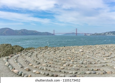 SAN FRANCISCO, CA / USA - MAY 2018: Lands End Labyrinth with Golden Gate Bridge in the distance