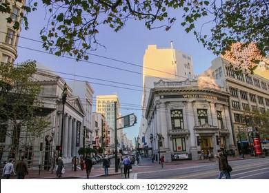 SAN FRANCISCO, CA, USA - NOV 13, 2007: People go to Wells Fargo bank on Market street in financial district on Nov 13, 2007 in San Francisco, CA, USA.