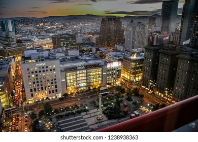 SAN FRANCISCO, CA, USA - NOV 12, 2007: Aerial view to Macy's flagship store on Union Square at night on Nov 12, 2007 in San Francisco, CA, USA.