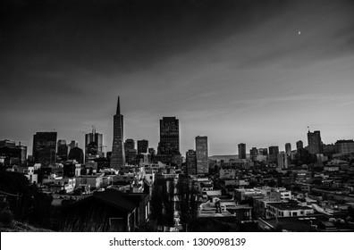 SAN FRANCISCO, CA, USA - NOV 14, 2007: Aerial view to downtown financial district at night on Nov 14, 2007 in San Francisco, CA, USA.