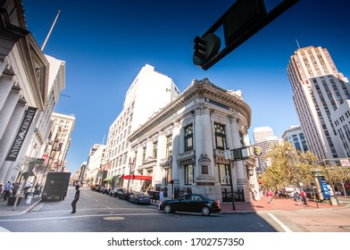 SAN FRANCISCO, CA, USA - OCT 1, 2012: People go to Wells Fargo bank on Market street in financial district on Oct 1, 2012 in San Francisco, CA, USA.