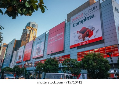 SAN FRANCISCO, CA, USA -  OCT 1, 2012: Early morning at Fourth street near Moscone Center on the eve of Oracle Open World conference start on Oct 1, 2012 in San Francisco, CA, USA.