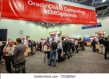 SAN FRANCISCO, CA, USA -  OCT 4, 2011: Oracle cloud computing demoground booth at exhibition hall of Oracle OpenWorld conference in Moscone convention center on Oct 4, 2011 in San Francisco, CA.
