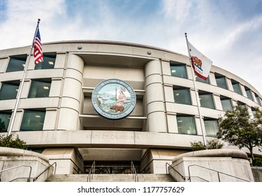 San Francisco, CA, USA, October 26th 2016: Main entrance of the California Public Utilities Commission headquarters building in San Francisco, California, USA