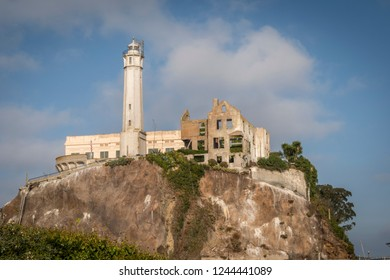 San Francisco, CA / USA - OCTOBER 17, 2018: Photos of Alcatraz, Alcatraz Island is home to the abandoned prison, the site of the oldest operating lighthouse on the West Coast of the United States