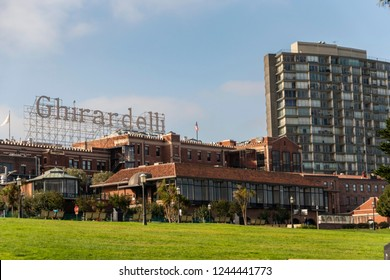 San Francisco, CA / USA - OCTOBER 14, 2018: Facade of the old Ghirardelli chocolate factory in San Francisco in one morning.