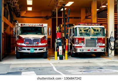 San Francisco, CA, USA, october 23, 2016: Fire trucks in the firehouse in San Francisco